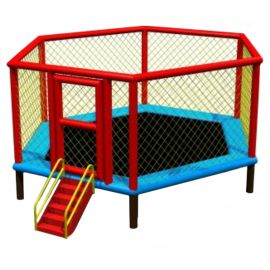 "Gambol -Sky Zone 12"" Ft Hexagon Trampoline w/ Sturdy Ladder"
