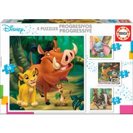 Educa Puzzles - Progressive Puzzless Disney Animals Dumbo+Bambi+Lion King+Jungle Book) - Suitable for 3 years and above