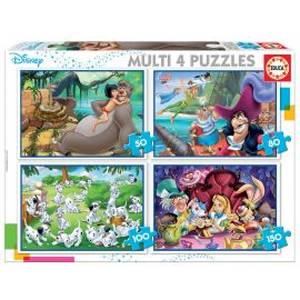 Educa Puzzles - Multi 4 Puzzles Disney Classics - Suitable for 3 years and above
