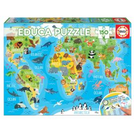 Educa Puzzles - 150 Animals World Map - Suitable for 3 years and above