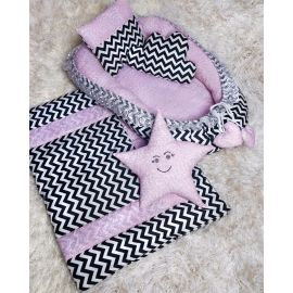 Gambol - Babynest Bedding Set of 5, Head Pillow, Bed ,Quilt, 2 Pillows Black and Pink