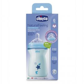 Chicco NaturalFeeling Bottle Silicone 6m+ 330ml,Blue