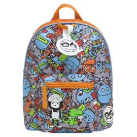ZIP & ZOE - Mini Backpack + Safety Harness - Robots Blue