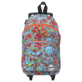 Zip & Zoe - Kid's Mini Trolley Bag - Robot Blue