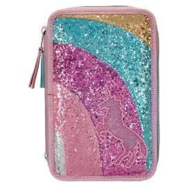 Top Model Ylvi Filled Triple Pencil Case Rainbow - Glitter Mauve