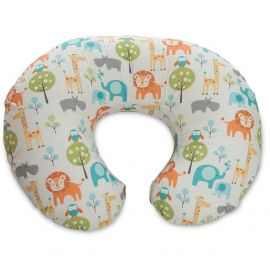 Chicco Boppy Pillow With Cotton Slipcover 0m+ ,Peacful Jungle