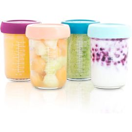 Babymoov - Glass Baby Bowls, 4 X 240ml Airtight Food Storage Container
