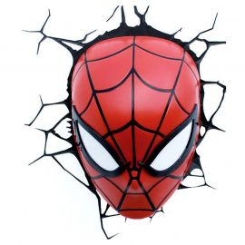 Spiderman Face Mask 3D Deco Led Wall Light Red