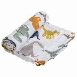Little Unicorn - Cotton Muslin Swaddle - Dino Friends