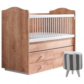 Belis - Bubble Baby Bed with Drawers 0m-5y 60x120cm - Oak