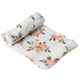 Little Unicorn - Cotton Muslin Swaddle - Watercolor Roses
